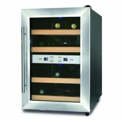 Caso Wineduett 12 palackos borhűtő, 2 zónás, fa polcos