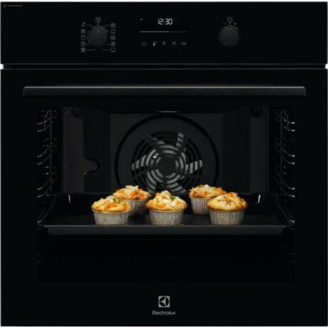 Electrolux EOD6P77WZ SteamBake beépíthető elektromos sütő, 72 l, Wifi, pirolitikus tisztítás, maghőmérő, süllyesztett gombok,  fekete
