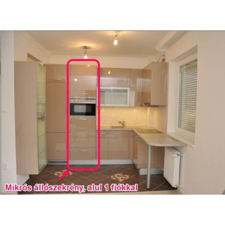 Modern konyhabútor, elemenként összeszerelhető, mikrós állószekrény, 60cm széles